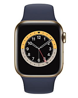 Apple Watch Series 6 GPS + Cellular, 40mm Gold Case with Deep Navy Sport Band