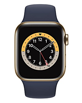 Apple Watch Series 6 GPS + Cellular, 44mm Gold Case with Deep Navy Sport Band