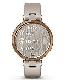 Garmin Lily Rose Gold with Light Sand Silicone Band