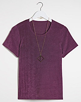 Julipa Plain Slinky Top with Necklace