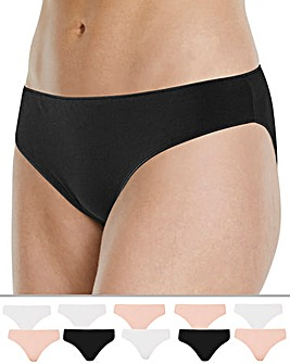 Naturally Close 10 Pack Black/White/Blush Bikini Briefs