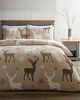 Festive Stags Fleece Duvet Set