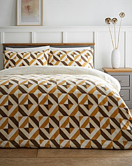 Geo Ochre Fleece Duvet Cover Set