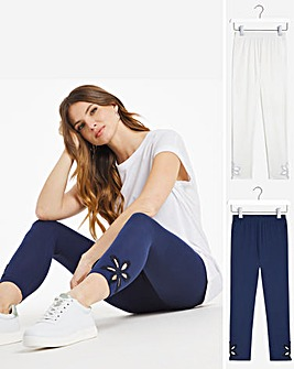Julipa 2 Pack Leggings with Ankle Detail
