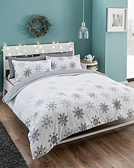 Ombre Snowflake Brushed Cotton Duvet Set