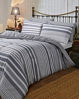 Flannel Stripe Brushed Cotton Duvet Set