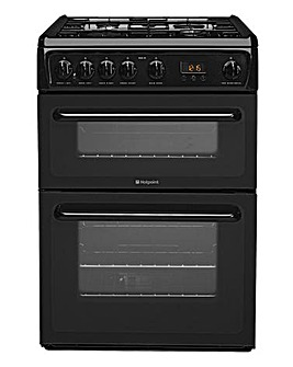 Hotpoint NewStyle HAG60K Gas Double 60cm Cooker Black + Installation
