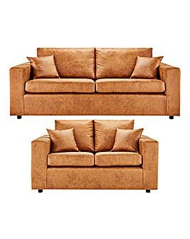 Alicante Worn Faux Leather 3 plus 2 Seater Sofa
