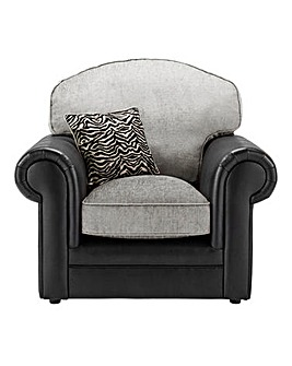 Sapphire Fabric and Faux Leather Armchair