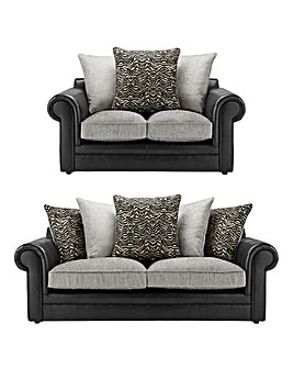 Sapphire Scatterback Fabric and Faux Leather 3 Seater Plus 2 Seater Sofa
