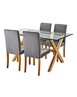 Wellington Table & 4 Mia Velvet Chairs