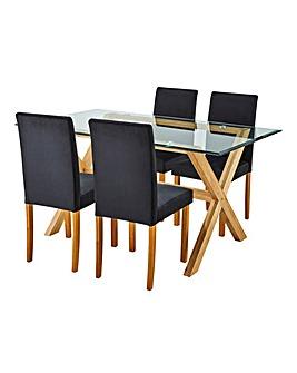 Wellington Table & 4 Mia Velvet Chairs