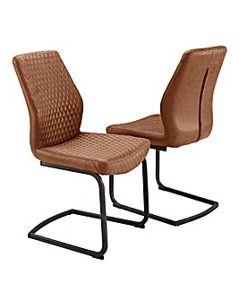 Houston Faux Leather Pair of Cantilever Dining Chairs