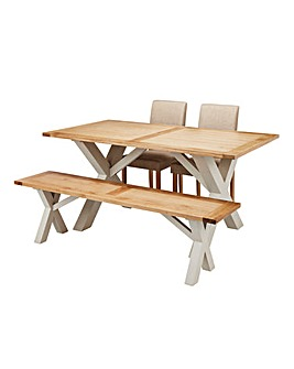 Oxford Dining Table with Bench & Chairs