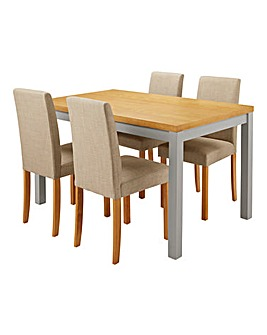 Oakham Two Tone Table 4 Fabric Chairs