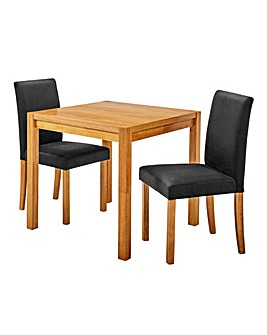 Oakham Square Table 2 Mia Velvet Chairs