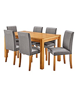 Oakham Table 6 Mia Velvet Chairs