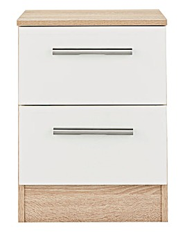 Leo Gloss Assembled 2 Drawer Bedside