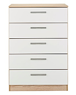 Leo Gloss Ready Assembled 5 Drawer Chest