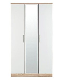 Leo Gloss 3 Door Mirrored Wardrobe