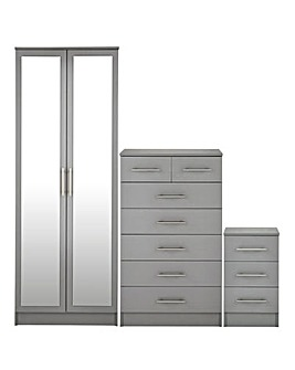 Helsinki 3 Piece Bedroom Package (Bedside, 5+2 Chest, 2 Door Wardrobe)