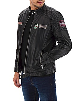 Joe Browns Badged-Up Leather Biker