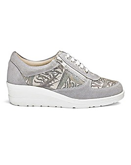 Heavenly Soles Leisure Lace Up Shoes With Zip Detail Wide E Fit