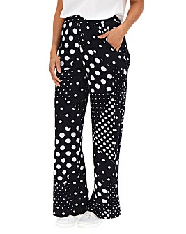 Spot Print Jersey Wide Leg Trousers