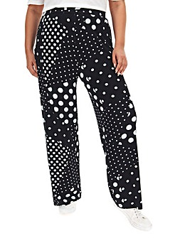 Spot Print Jersey Wide Leg Trousers Long