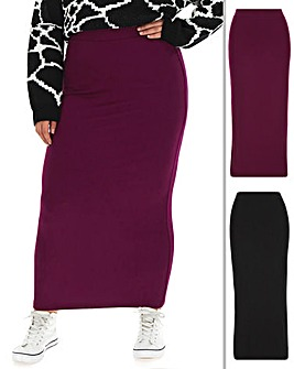 2 Pack Jersey Maxi Tube Skirts