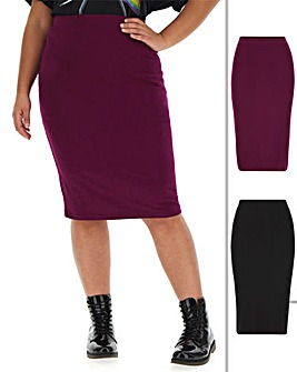2 Pack Jersey Midi Tube Skirts