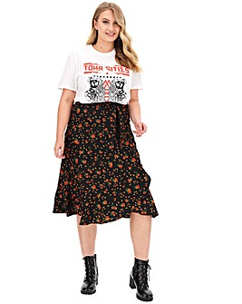 Ruffle Front Mock Wrap Midi Skirt