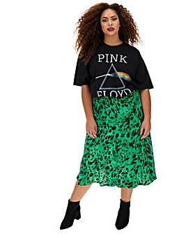 Mock Wrap Print Satin Midi Skirt