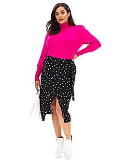 Spot Mock Wrap Midi Skirt