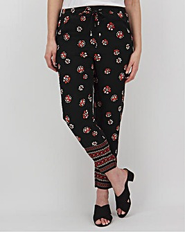 Print Crepe Jogger Tapered Trousers