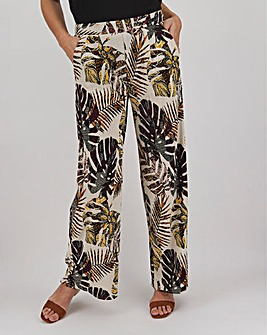 Print Crepe Wide Leg Trousers Regular