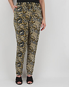Print Crepe Jogger Tapered Trousers Regular
