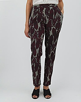 Print Crepe Tapered Leg Trousers Regular