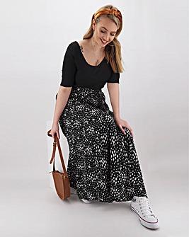 Spot Print Crepe Maxi Skirt
