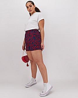 Heart Print Crepe Shorts