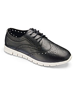 Heavenly Soles Leisure Brogue Shoes Wide E Fit