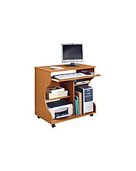 Curved Computer Desk Trolley - Pine