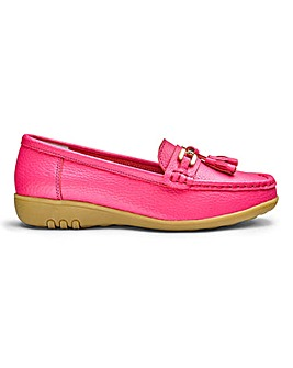 Cushion Walk Leather Loafers With Trim And Tassel Detail Wide E Fit