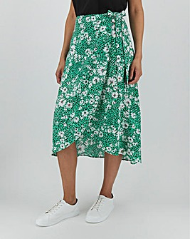 Floral Wrap Front Midi Skirt