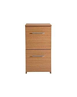 2 Drawer Filing Cabinet - Oak Effect