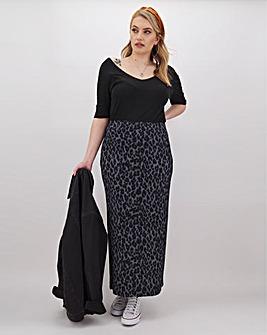 Leopard Print Jersey Maxi Tube Skirt