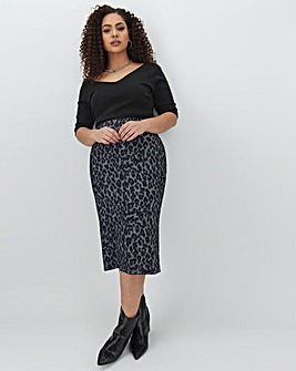 Leopard Print Jersey Midi Tube Skirt