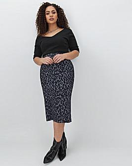 Leopard Print Jersey Midi Tube Skirt