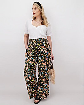 Floral Crinkle Wide Trousers