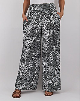 Mono Crinkle Shirred Waist Wide Trousers